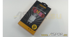 Зарядное устройство ASPOR A818 Plus USB, + кабель Lightning