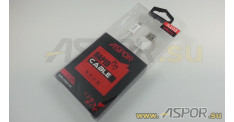 Кабель ASPOR A103, micro USB, белый