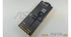 Кабель ASPOR A122, lightning USB, черный
