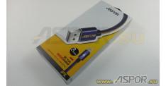 Кабель ASPOR A126, lightning USB, черный