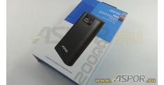 Внешний аккумулятор ASPOR A378 (Power Bank),  черный