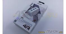Зарядное устройство ASPOR A831, USB + кабель USB - micro USB