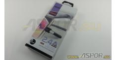 Кабель ASPOR A185 micro USB, черный/серебро