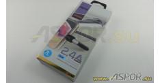 Кабель ASPOR A186, lightning USB, черный/синий