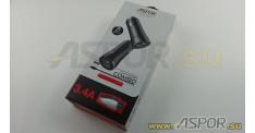 Автомобильное зарядное ASPOR A918, USB + кабель USB - micro USB, черный