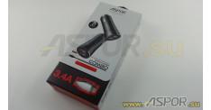Автомобильное зарядное ASPOR A918, USB  + кабель USB - Lightning, черный