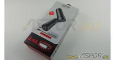 Автомобильное зарядное ASPOR A918, USB  + кабель USB - Lightning, красный